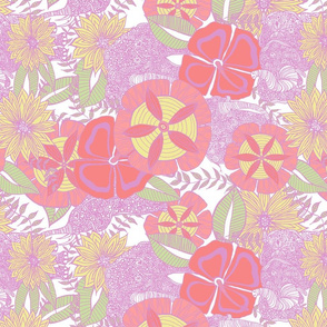 Pink Floral Elephant Repeat Pattern.