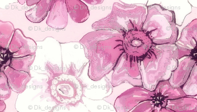 Purple and white misty floral flowers