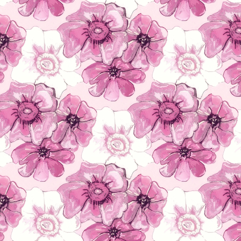 Purple and white misty floral flowers  fabric by dk_designs on Spoonflower - custom fabric