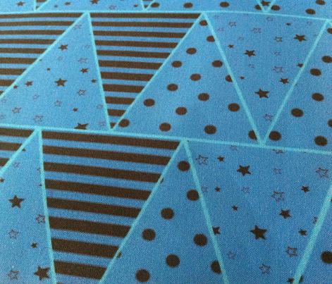 Blue Triangles, Stars, Dots, Stripes