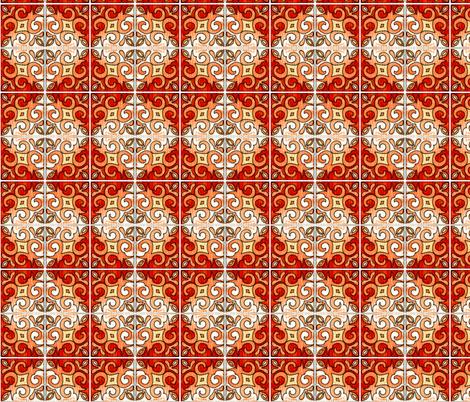 Tile Swirl Orange - Inspired by Portuguese Tiles fabric by martaharvey on Spoonflower - custom fabric