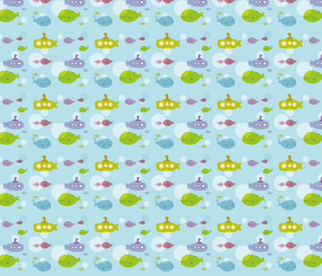 Down by the Sea {Submarines} fabric by printablegirl on Spoonflower - custom fabric