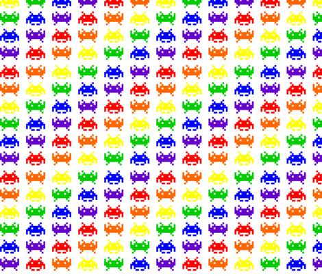 Retro Space Invaders - 2 fabric by craft_geek_or_die on Spoonflower - custom fabric