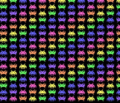 Retro space invaders 3 fabric craft geek or die for Vintage space fabric