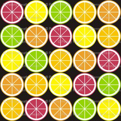 Citrus Segment Polka Dot Black