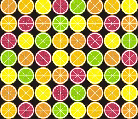 Citrus Segment Polka Dot Black fabric by smuk on Spoonflower - custom fabric
