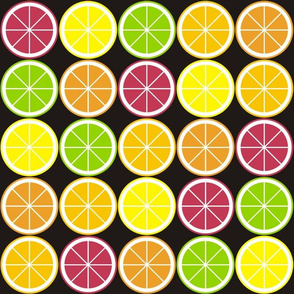 Citrus Segment Polka Dot Black