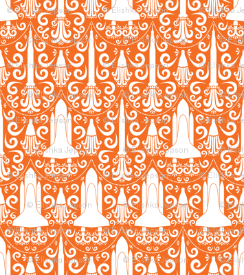 Rocket Science Damask (Orange)