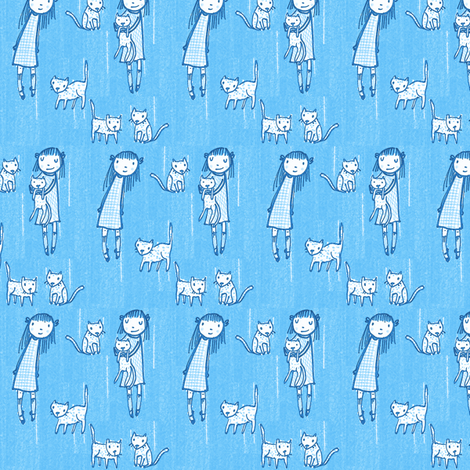 Cat Collectors (periwinkle)  fabric by anda on Spoonflower - custom fabric