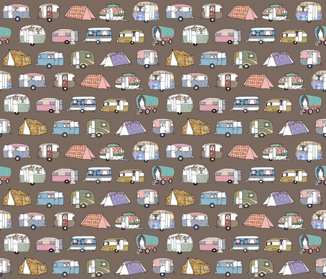 Vintage_Camping_brown_small fabric by peppermintpatty on Spoonflower - custom fabric