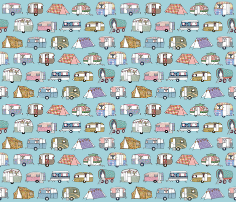 Vintage_Camping_paleblue fabric by peppermintpatty on Spoonflower - custom fabric
