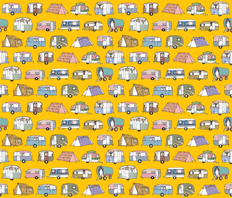 Vintage_Camping_yellow fabric by peppermintpatty on Spoonflower - custom fabric