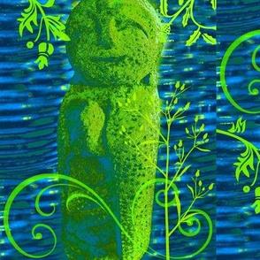Little Buddha Man-blue/green