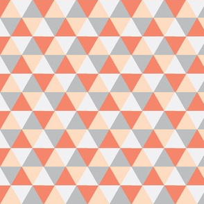 Coral Triangle Mix - Coral, Peach, Grey Triangles - Baby Blanket