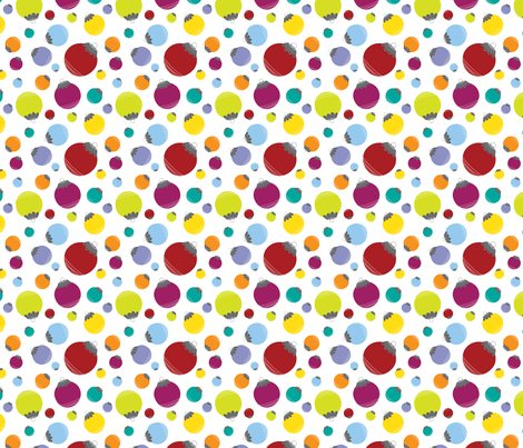 Holly Jolly Balls {White} fabric by printablegirl on Spoonflower - custom fabric