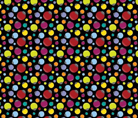 Holly Jolly Balls {Black} fabric by printablegirl on Spoonflower - custom fabric