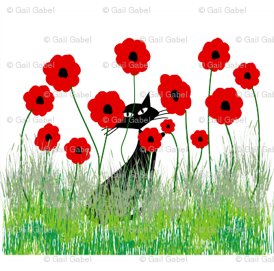 Black Cat and Poppies