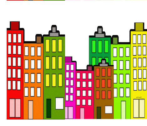 Retro City Buildings fabric by hot4tees_bg@yahoo_com on Spoonflower - custom fabric