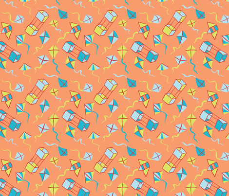 Fly a Kite - Coral fabric by hugandkiss on Spoonflower - custom fabric