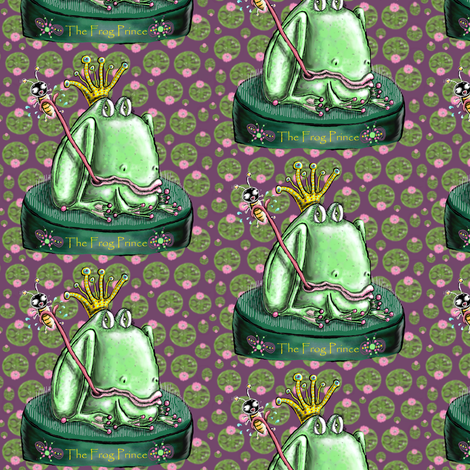 The Frog Prince on a Flower Frog Small Scale fabric by amy_g on Spoonflower - custom fabric
