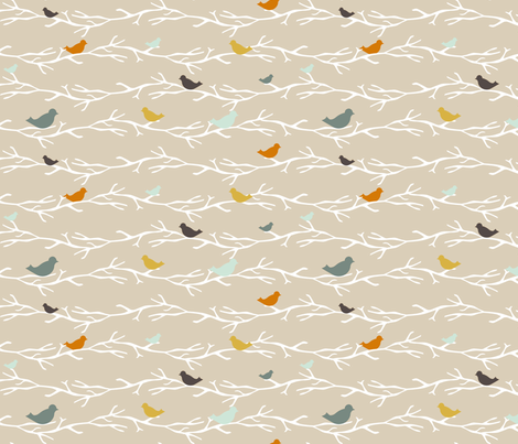 custom Treetop Blue Birds fabric by mrshervi on Spoonflower - custom fabric