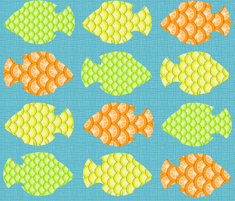 Tangy Citrus Fish fabric by ladyrattus on Spoonflower - custom fabric