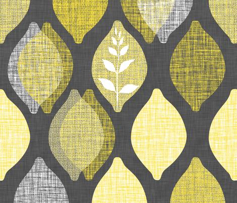 Amalfi Lemon Linen.Charcoal fabric by spellstone on Spoonflower - custom fabric