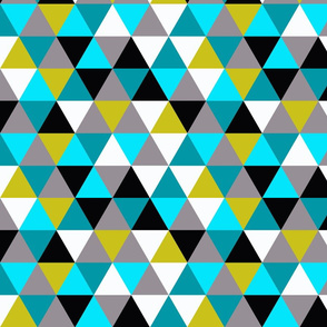 triangles - blue, grey and mustard olive