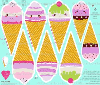ice cream cut and sew set of 4 ice creams