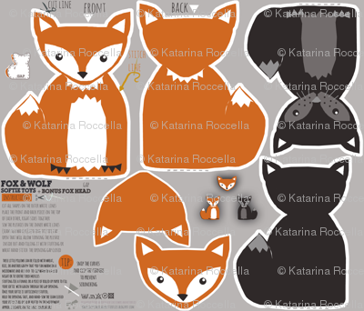 fox and wolf baby DIY soft plush toys