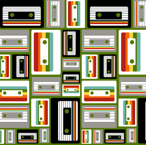 Cassettes on Green fabric by natitys on Spoonflower - custom fabric