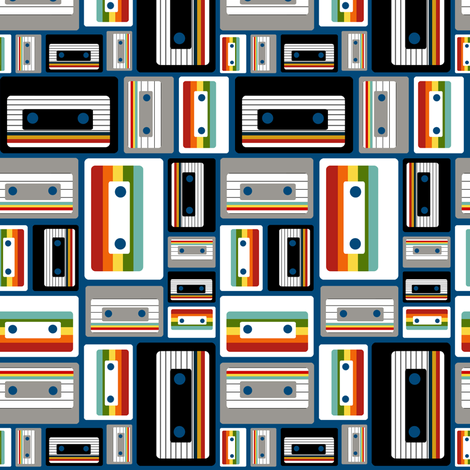 Cassettes on Royal Blue fabric by natitys on Spoonflower - custom fabric