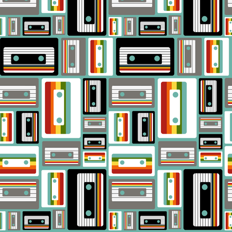Cassettes on Blue fabric by natitys on Spoonflower - custom fabric