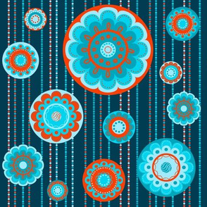 Abstract turquoise flowers