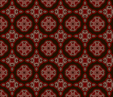 Oriental pattern in red and black fabric by slanapotam on Spoonflower - custom fabric
