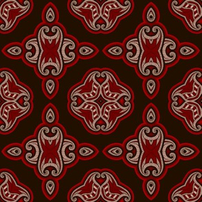Oriental pattern in red and black