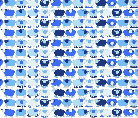One sheep, two sheeps, blue sheep, and more blue sheep! fabric by engelbam on Spoonflower - custom fabric