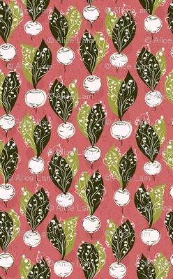 radishes - pink / white / green