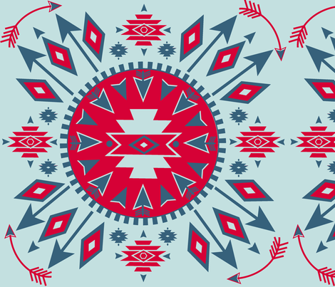 Navajo Arrows - lt. Aqua background fabric by fable_design on Spoonflower - custom fabric