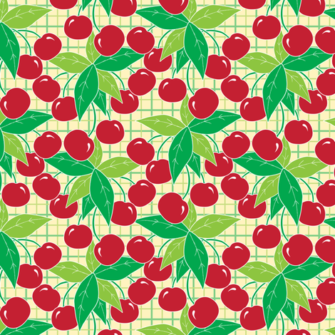 Bunch of Cherries fabric by jjtrends on Spoonflower - custom fabric