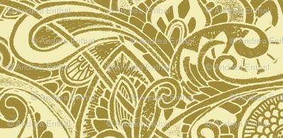 Victorian Paisley Cream and Tan Stripe