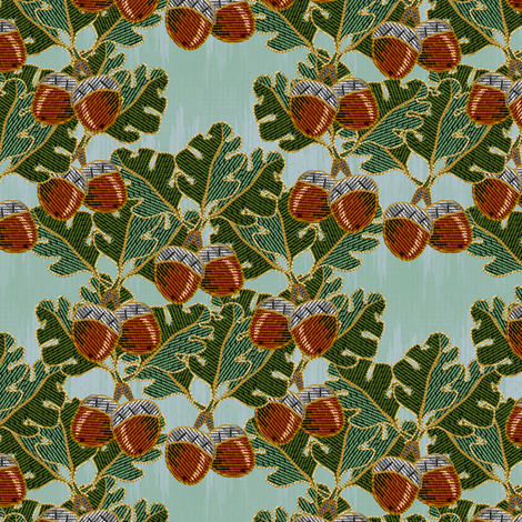 embroidered oak and acorns fabric by glimmericks on Spoonflower - custom fabric