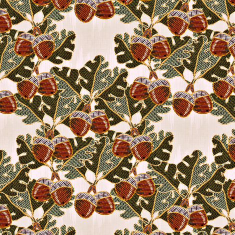 embroidered oak and acorns2 fabric by glimmericks on Spoonflower - custom fabric