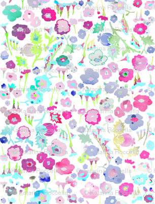 ditsy watercolor flowers