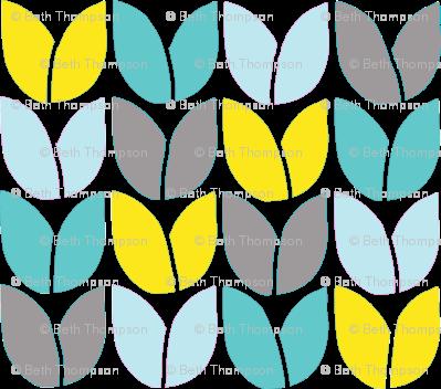 Tulip Knit (Aqua Yellow Gray)