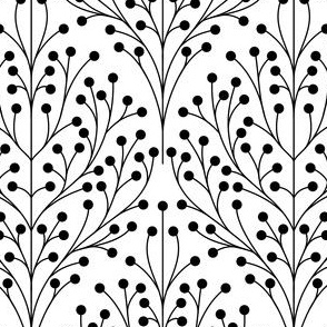 Shrub damask black and white