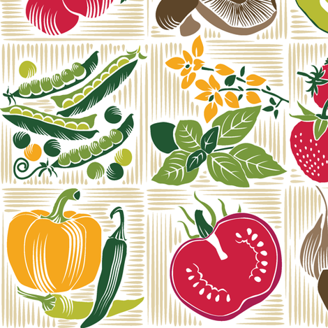 Vintage Veggies fabric by dianne_annelli on Spoonflower - custom fabric