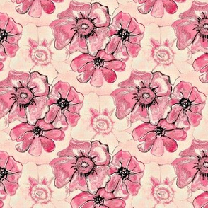 Vintage linen misty pink and white flowers