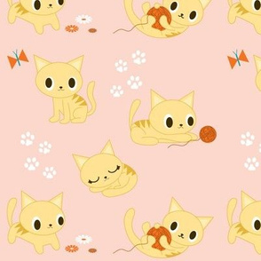 Cute Retro Kitties - Peach