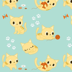 Cute Retro Kitties - Aqua